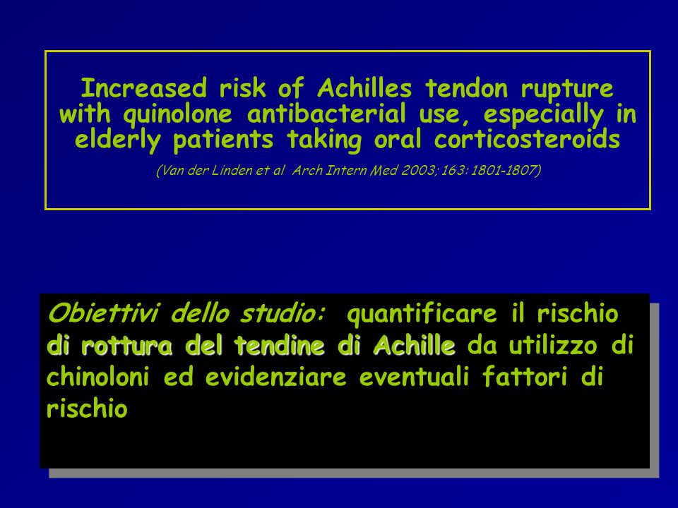 Increased risk of Achilles tendon rupture with quinolone antibacterial use, especially in elderly patients taking oral corticosteroids (Van der Linden et al Arch Intern Med 2003; 163: 1801-1807)