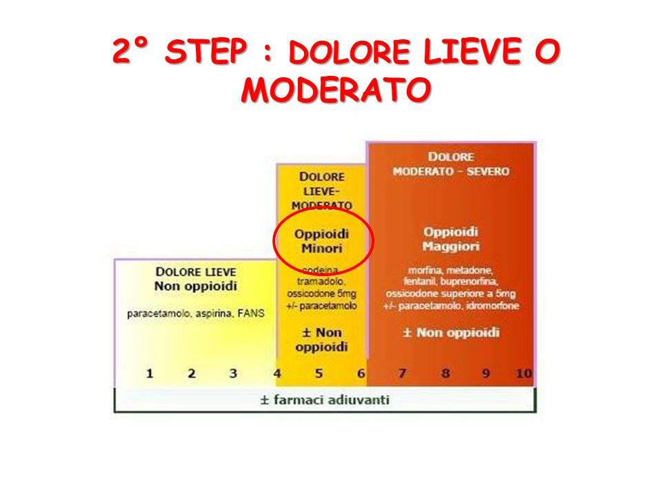 2° STEP : DOLORE LIEVE O MODERATO
