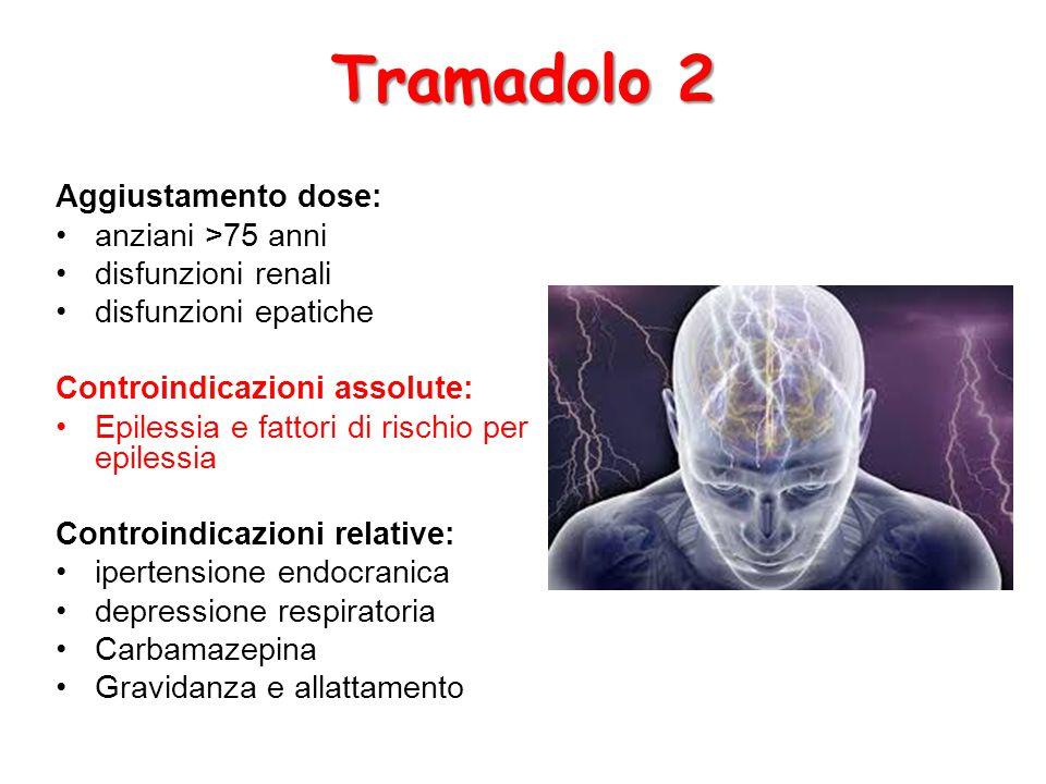 Tramadolo 2 Aggiustamento dose: anziani >75 anni disfunzioni renali