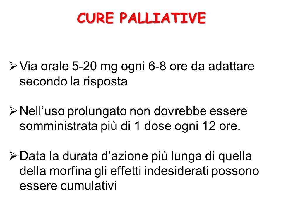 CURE PALLIATIVE Via orale 5-20 mg ogni 6-8 ore da adattare secondo la risposta.