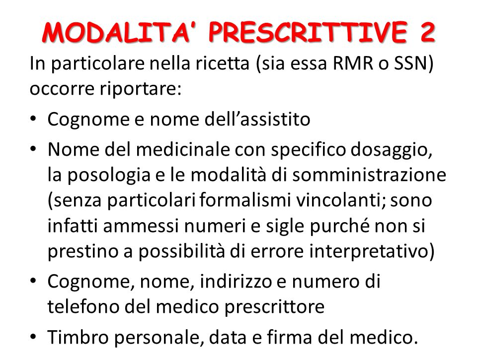MODALITA' PRESCRITTIVE 2