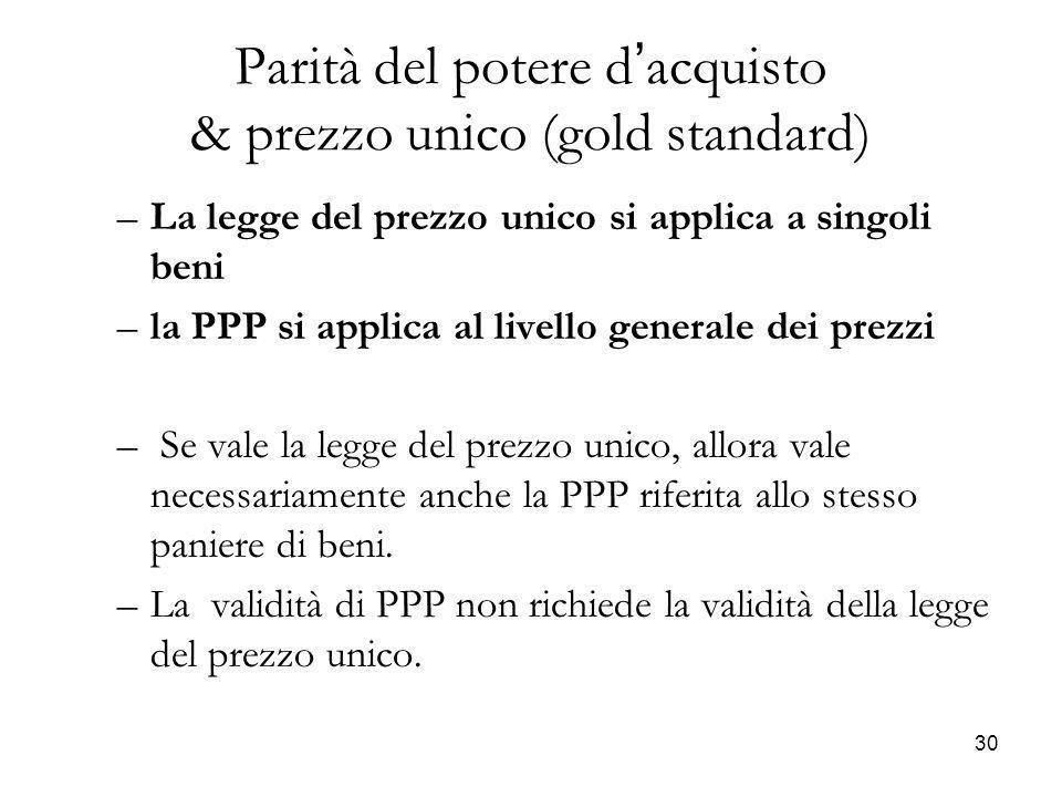 Parità del potere d'acquisto & prezzo unico (gold standard)