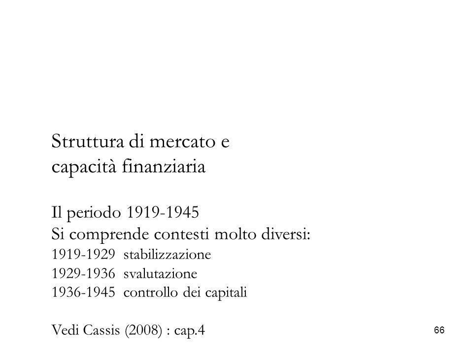 Struttura di mercato e capacità finanziaria Il periodo 1919-1945