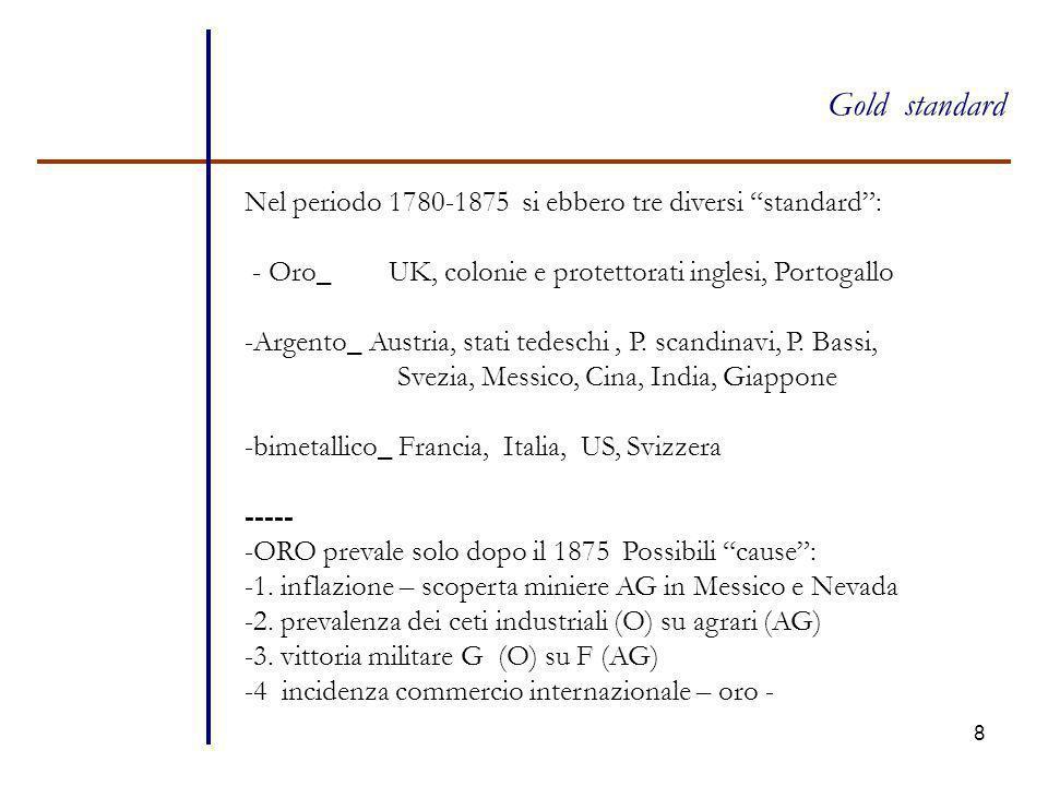 Gold standard Nel periodo 1780-1875 si ebbero tre diversi standard :