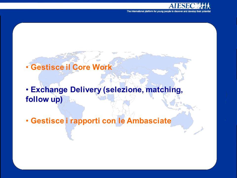 Gestisce il Core Work Exchange Delivery (selezione, matching, follow up) Gestisce i rapporti con le Ambasciate.