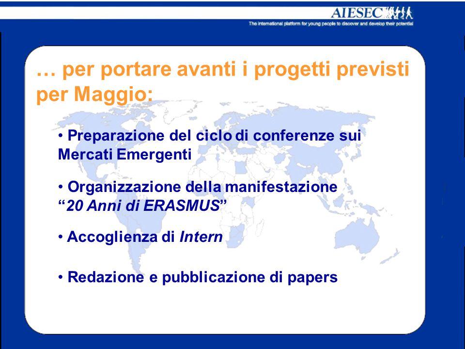 … per portare avanti i progetti previsti per Maggio: