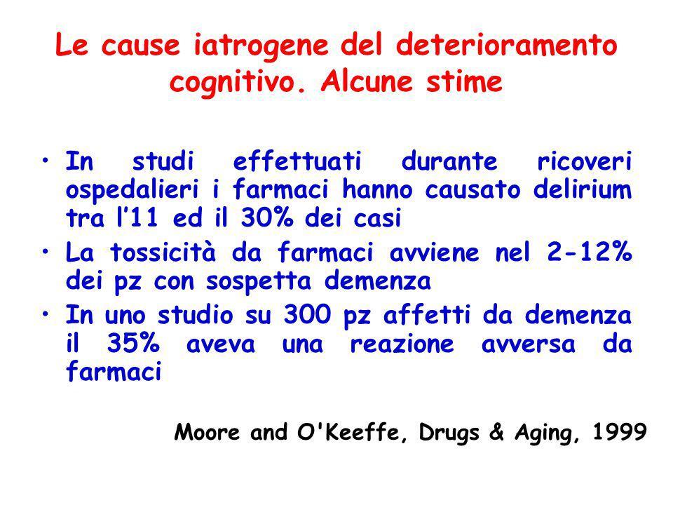 Le cause iatrogene del deterioramento cognitivo. Alcune stime