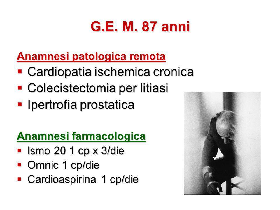 G.E. M. 87 anni Cardiopatia ischemica cronica