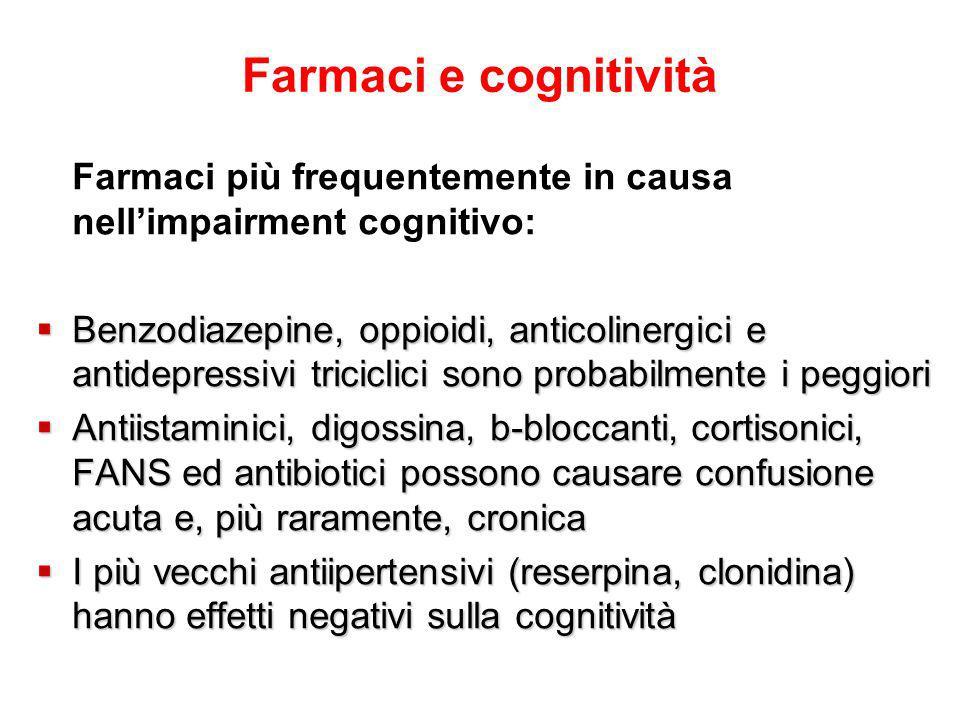 Farmaci e cognitività Farmaci più frequentemente in causa nell'impairment cognitivo: