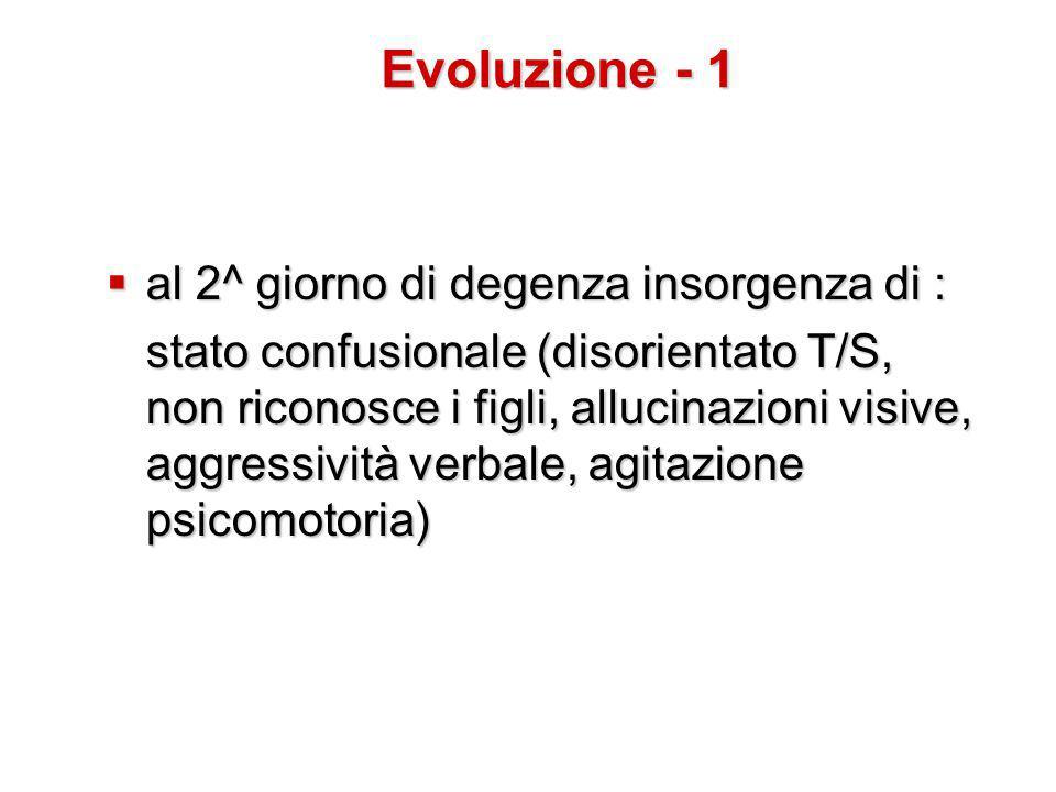 Evoluzione - 1 al 2^ giorno di degenza insorgenza di :
