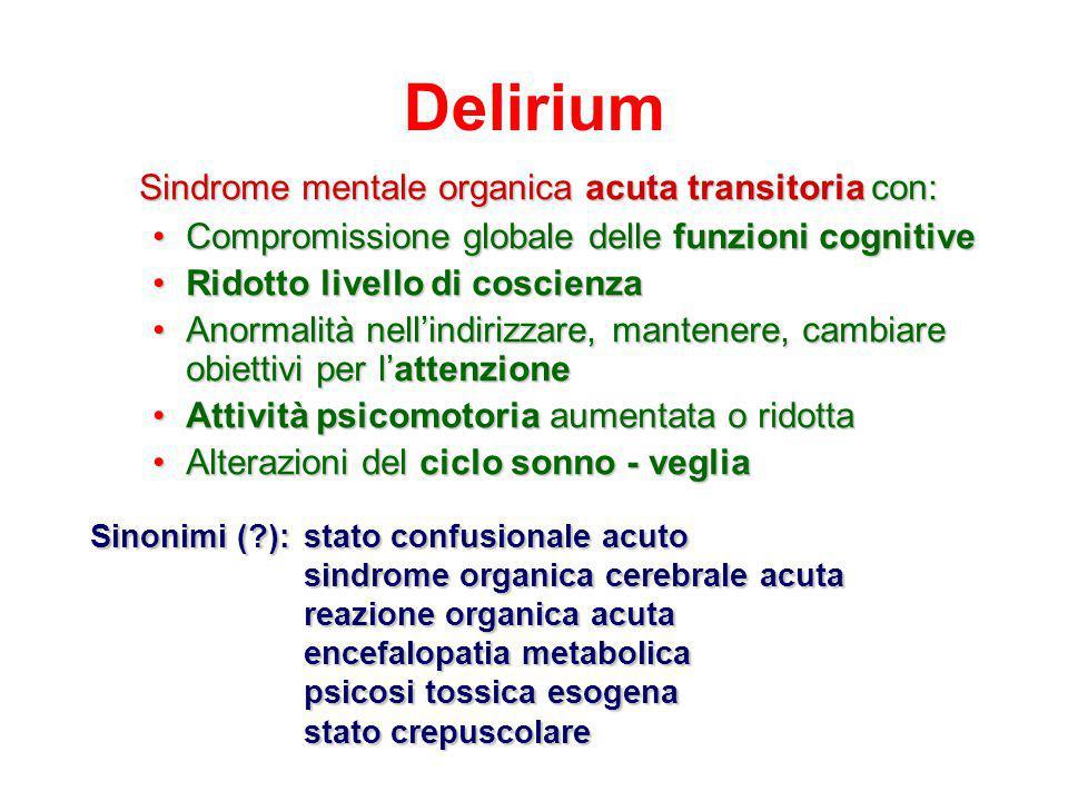 Delirium Sindrome mentale organica acuta transitoria con:
