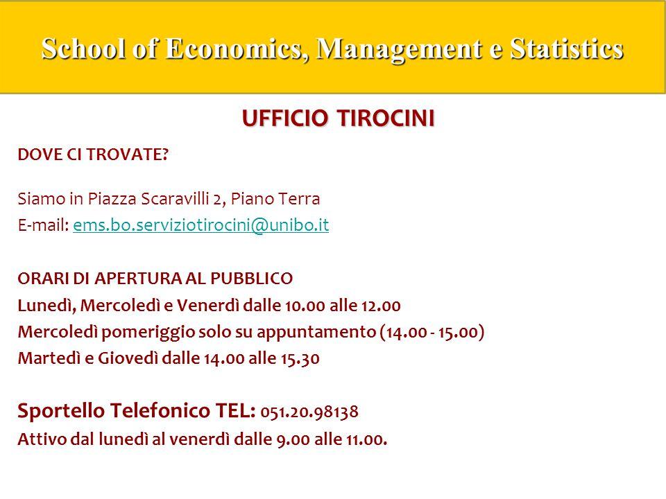 UFFICIO TIROCINI Sportello Telefonico TEL: 051.20.98138