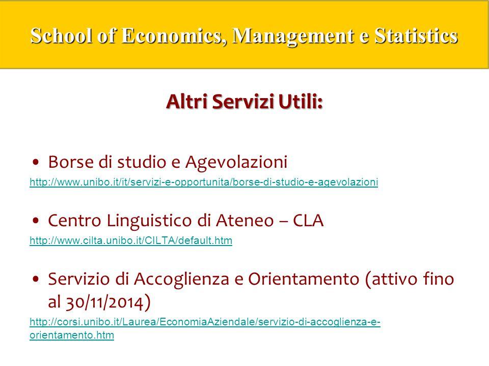 Altri Servizi Utili: Borse di studio e Agevolazioni