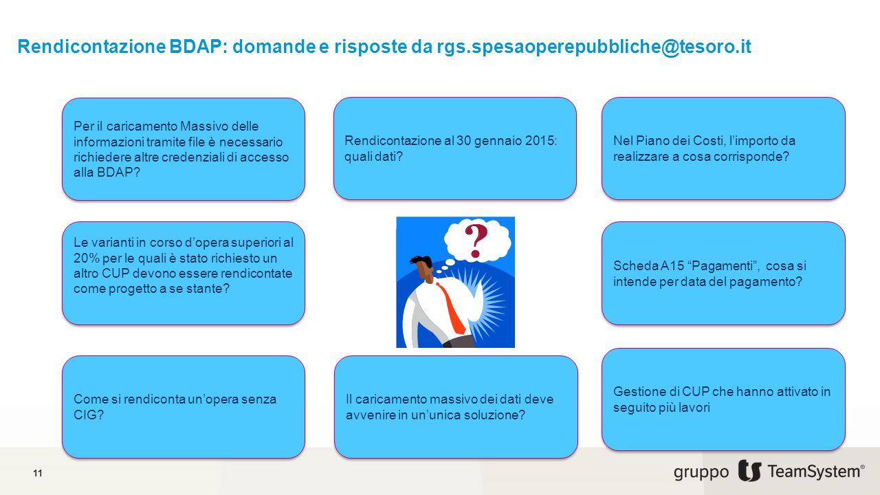 Rendicontazione BDAP: domande e risposte da rgs