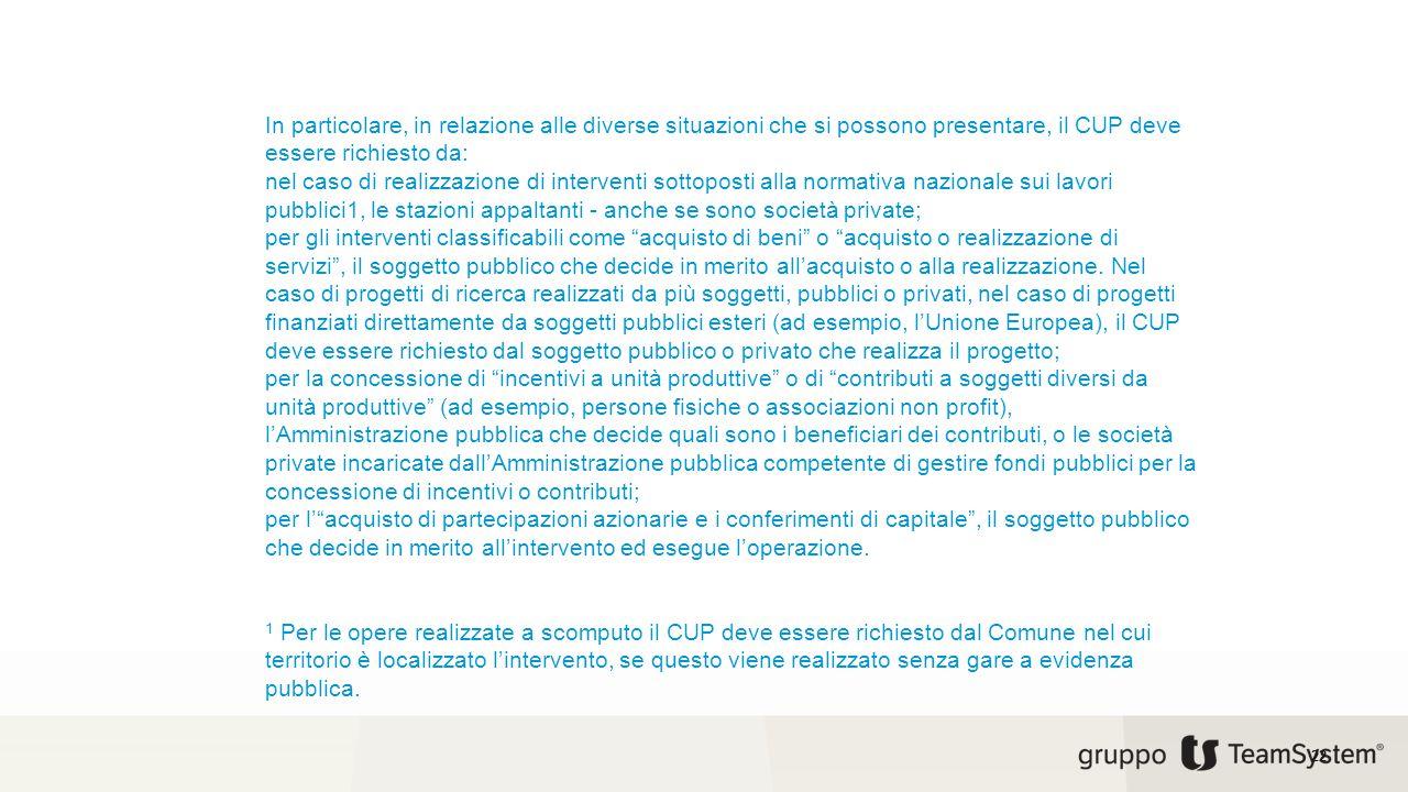 In particolare, in relazione alle diverse situazioni che si possono presentare, il CUP deve essere richiesto da: