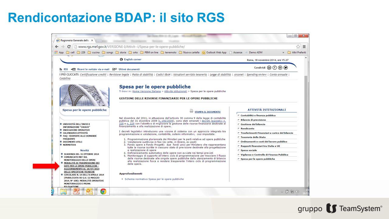 Rendicontazione BDAP: il sito RGS