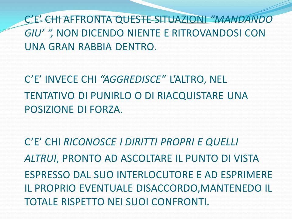 C'E' INVECE CHI AGGREDISCE L'ALTRO, NEL