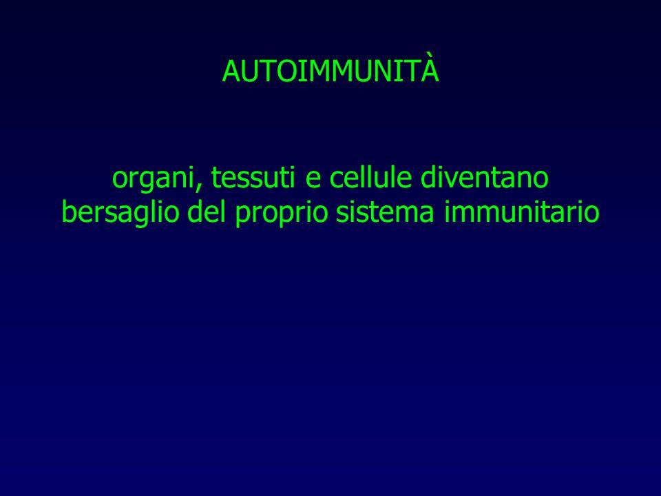 AUTOIMMUNITÀ organi, tessuti e cellule diventano bersaglio del proprio sistema immunitario