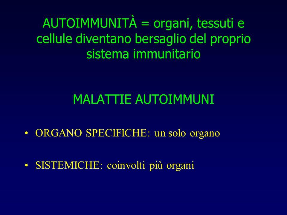 AUTOIMMUNITÀ = organi, tessuti e cellule diventano bersaglio del proprio sistema immunitario MALATTIE AUTOIMMUNI
