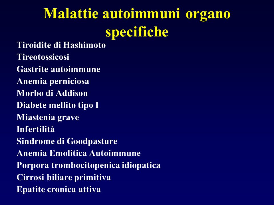 Malattie autoimmuni organo specifiche