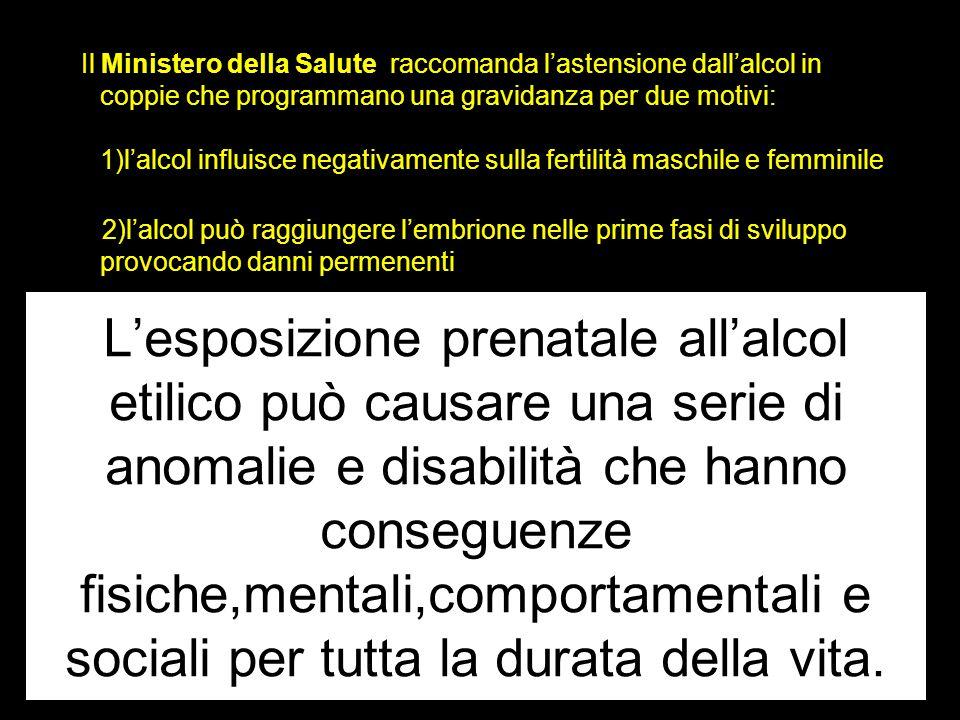 Il Ministero della Salute raccomanda l'astensione dall'alcol in coppie che programmano una gravidanza per due motivi: 1)l'alcol influisce negativamente sulla fertilità maschile e femminile