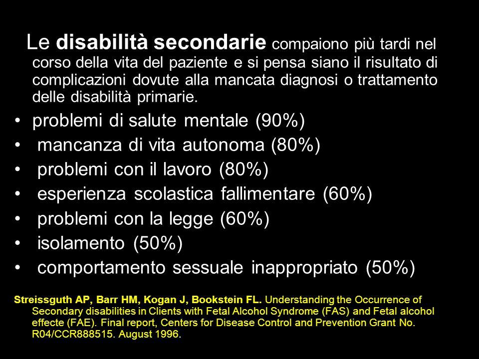 Le disabilità secondarie compaiono più tardi nel corso della vita del paziente e si pensa siano il risultato di complicazioni dovute alla mancata diagnosi o trattamento delle disabilità primarie.