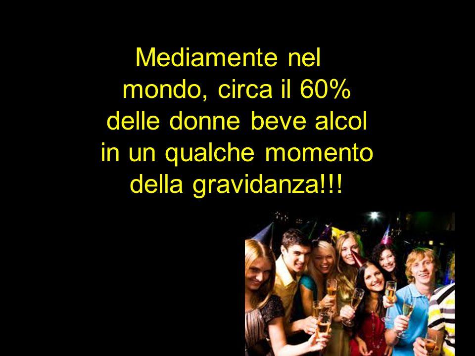 Mediamente nel mondo, circa il 60% delle donne beve alcol in un qualche momento della gravidanza!!!