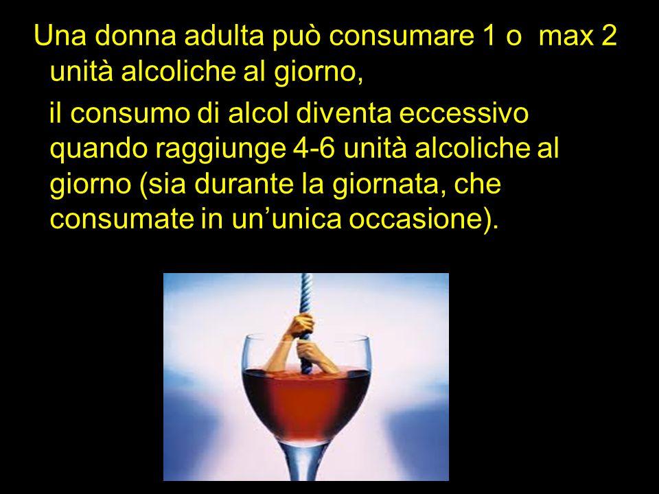 Una donna adulta può consumare 1 o max 2 unità alcoliche al giorno,