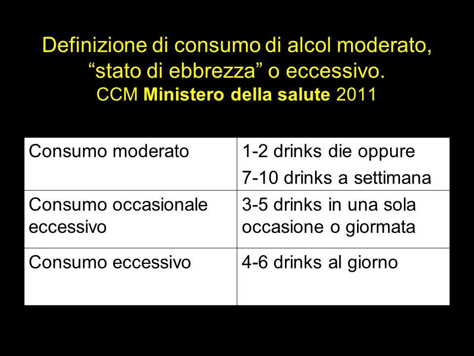 Definizione di consumo di alcol moderato, stato di ebbrezza o eccessivo. CCM Ministero della salute 2011