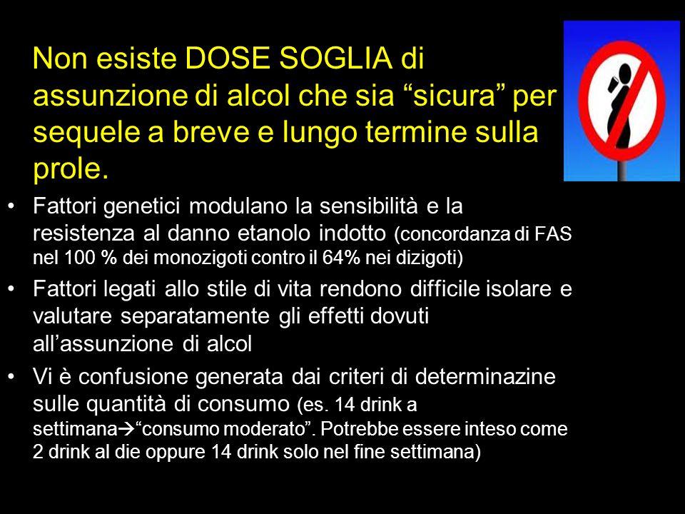 Non esiste DOSE SOGLIA di assunzione di alcol che sia sicura per sequele a breve e lungo termine sulla prole.