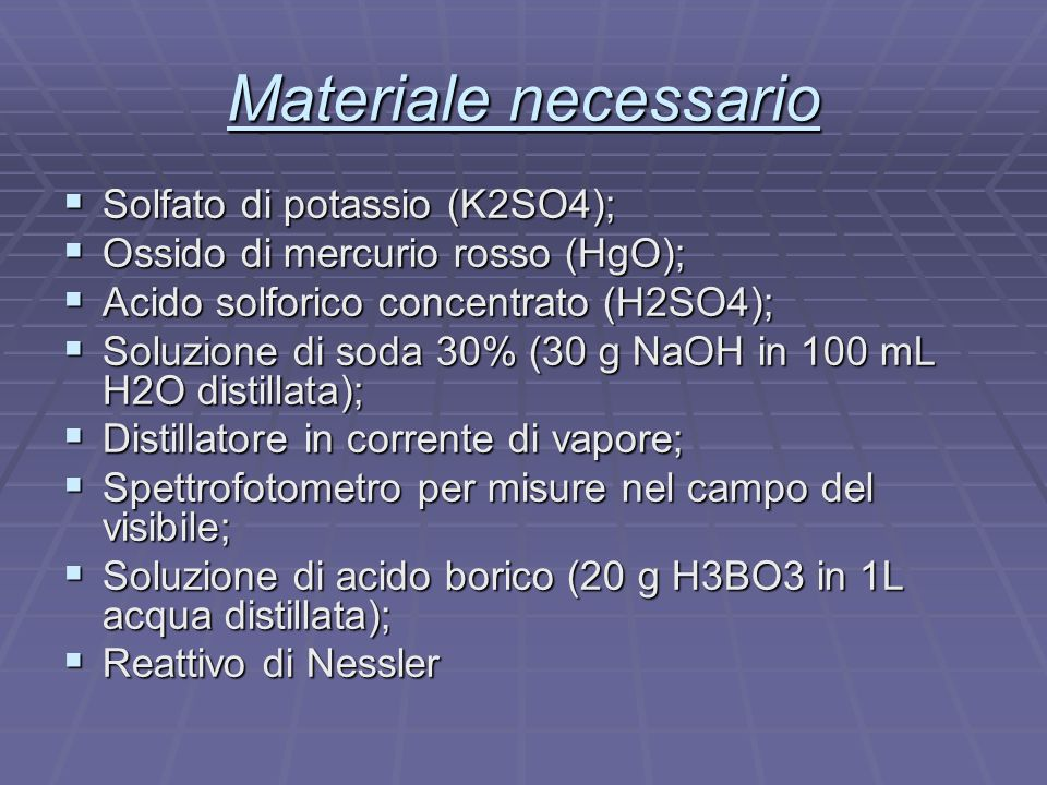 Materiale necessario Solfato di potassio (K2SO4);