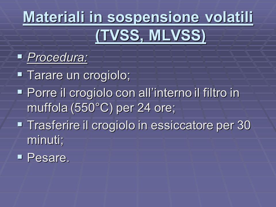 Materiali in sospensione volatili (TVSS, MLVSS)