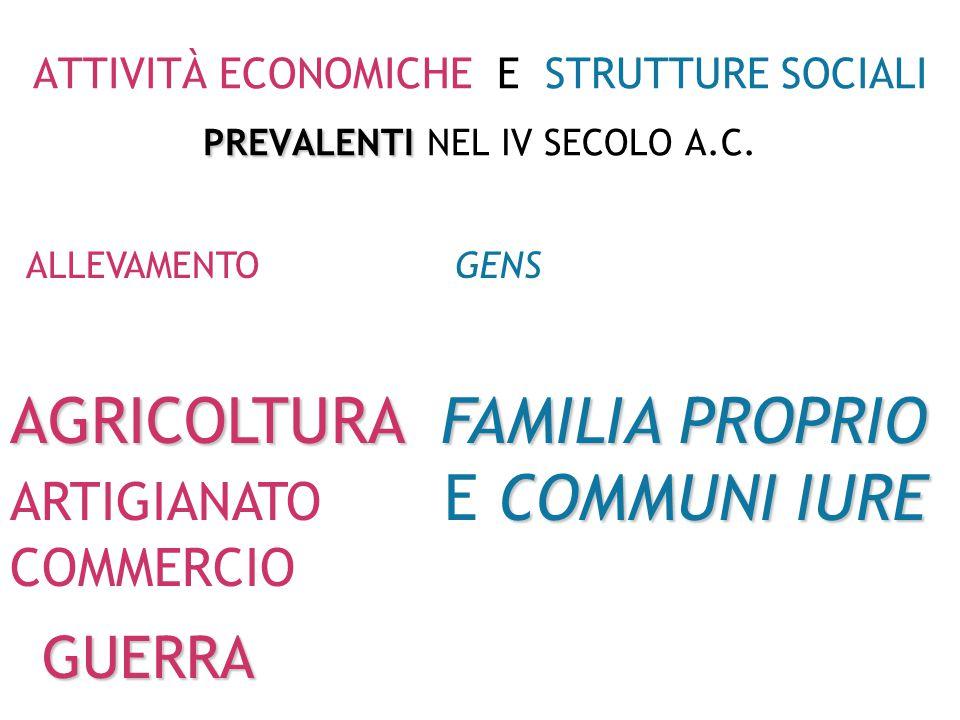 ATTIVITÀ ECONOMICHE E STRUTTURE SOCIALI PREVALENTI NEL IV SECOLO A.C.