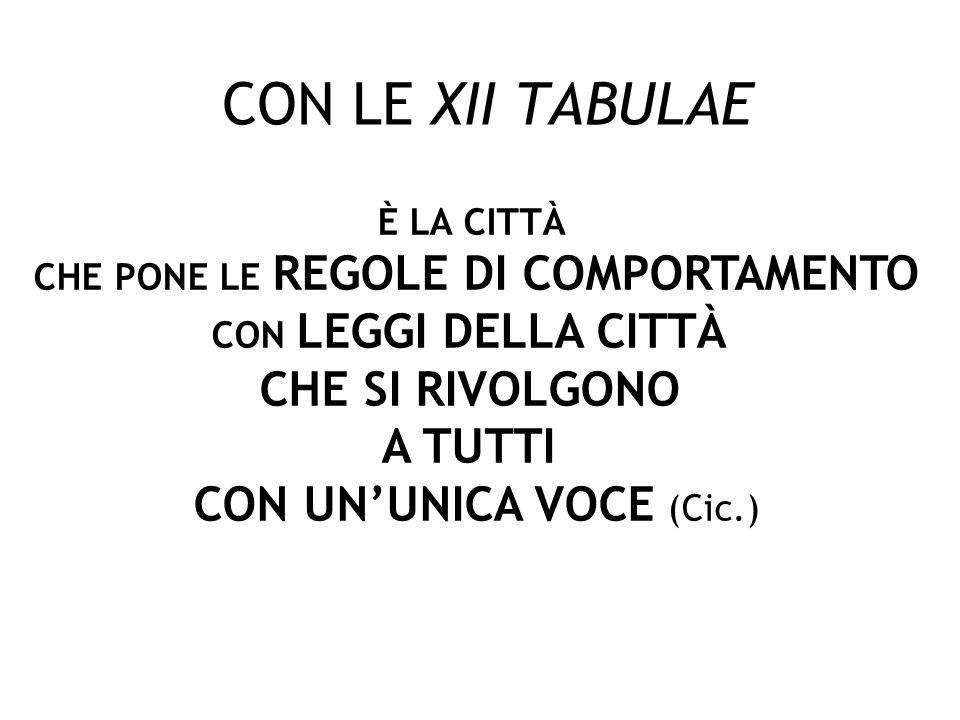 CON LE XII TABULAE CHE SI RIVOLGONO A TUTTI CON UN'UNICA VOCE (Cic.)