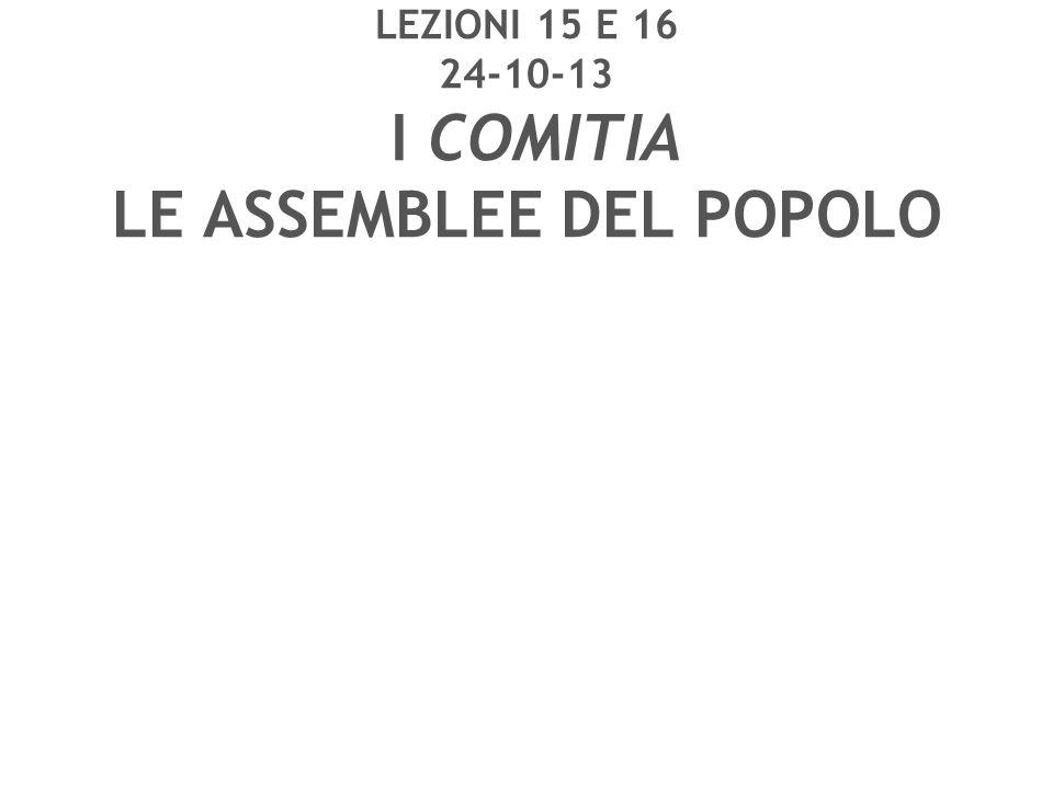 LEZIONI 15 E 16 24-10-13 I COMITIA LE ASSEMBLEE DEL POPOLO