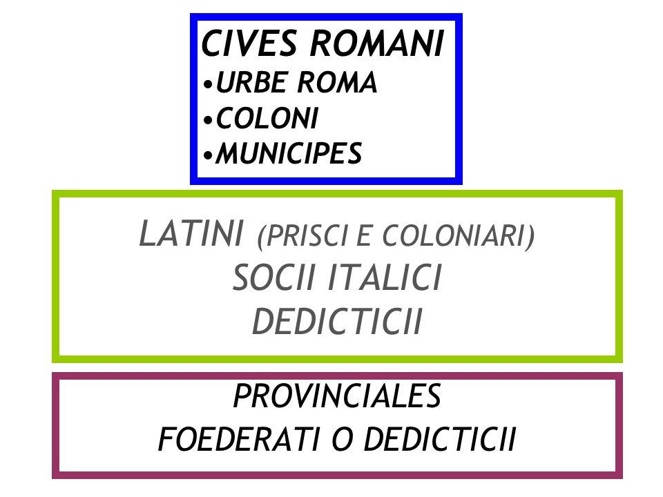 LATINI (PRISCI E COLONIARI) SOCII ITALICI DEDICTICII