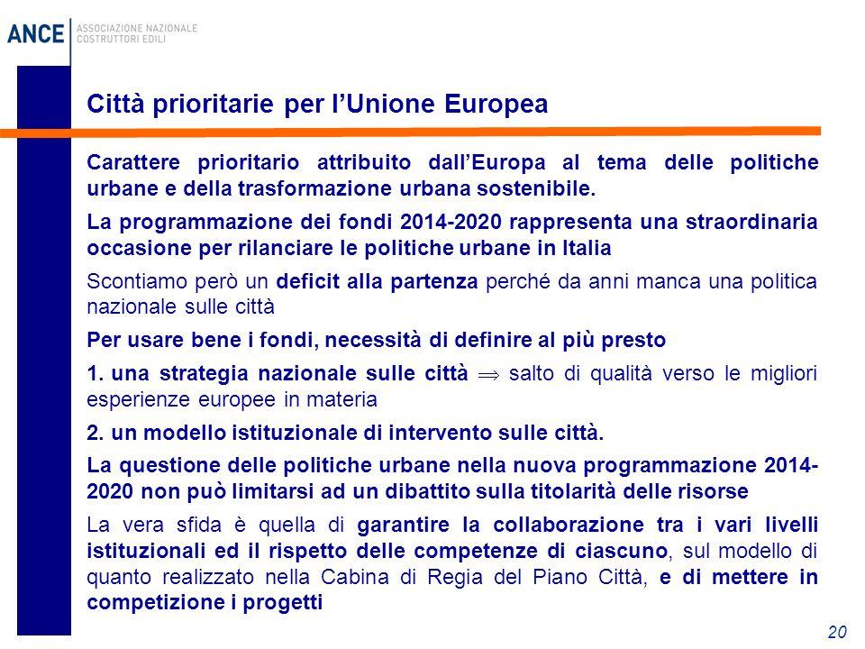 Città prioritarie per l'Unione Europea