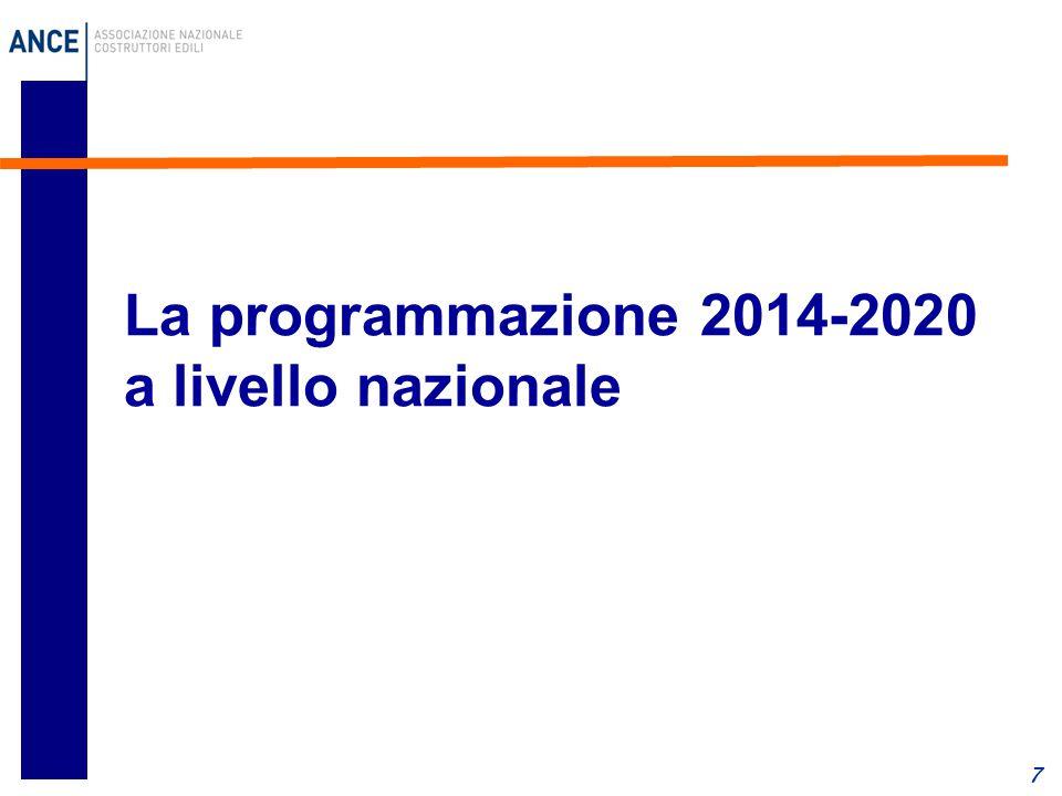 La programmazione 2014-2020 a livello nazionale