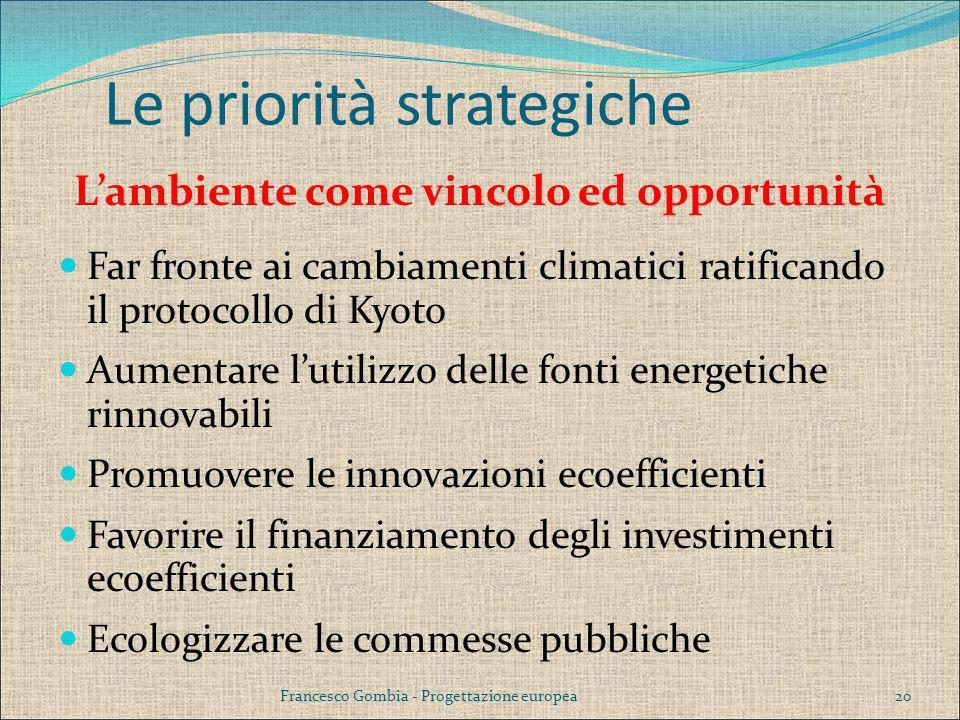 Le priorità strategiche