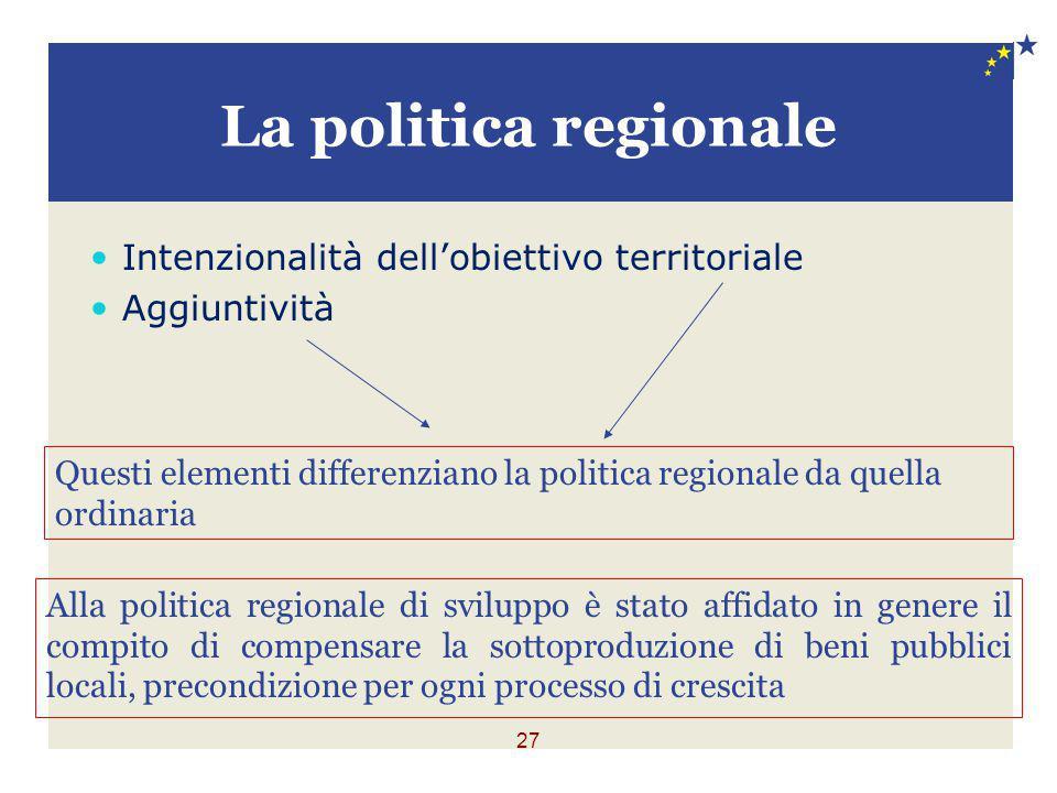La politica regionale Intenzionalità dell'obiettivo territoriale