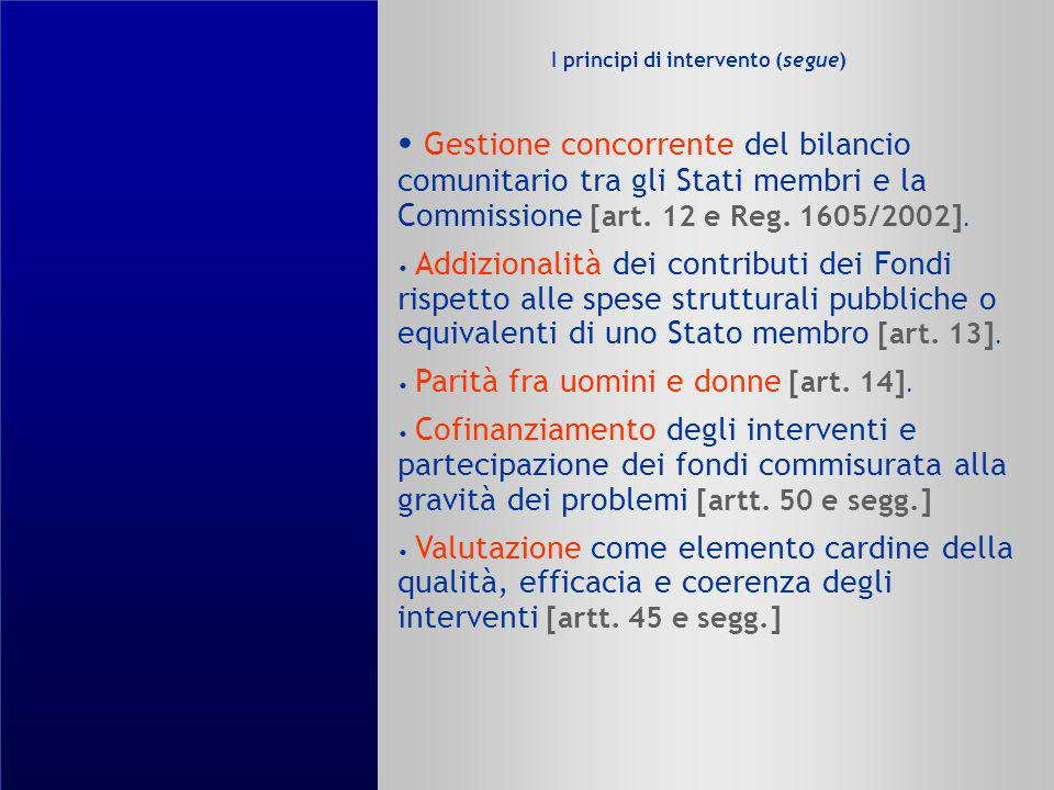 I principi di intervento (segue)
