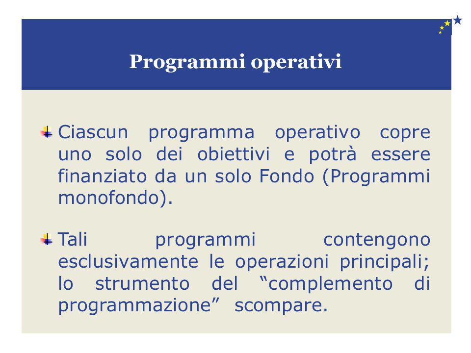 Programmi operativi Ciascun programma operativo copre uno solo dei obiettivi e potrà essere finanziato da un solo Fondo (Programmi monofondo).