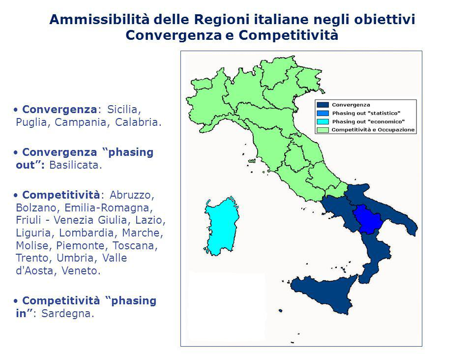 Ammissibilità delle Regioni italiane negli obiettivi Convergenza e Competitività