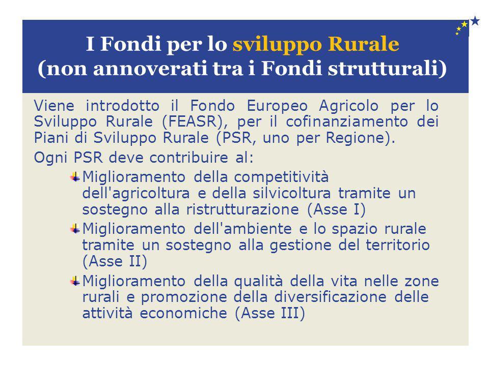 I Fondi per lo sviluppo Rurale (non annoverati tra i Fondi strutturali)