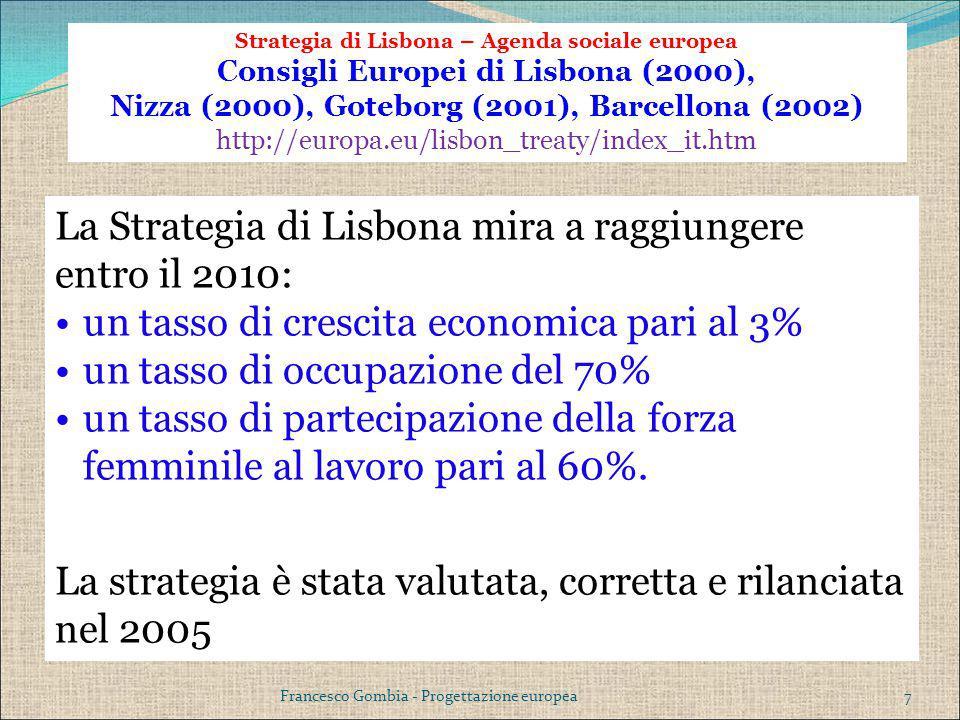 La Strategia di Lisbona mira a raggiungere entro il 2010: