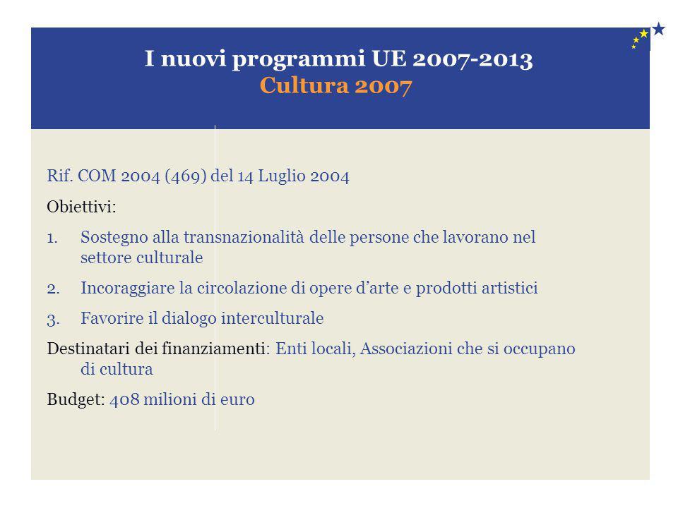 I nuovi programmi UE 2007-2013 Cultura 2007