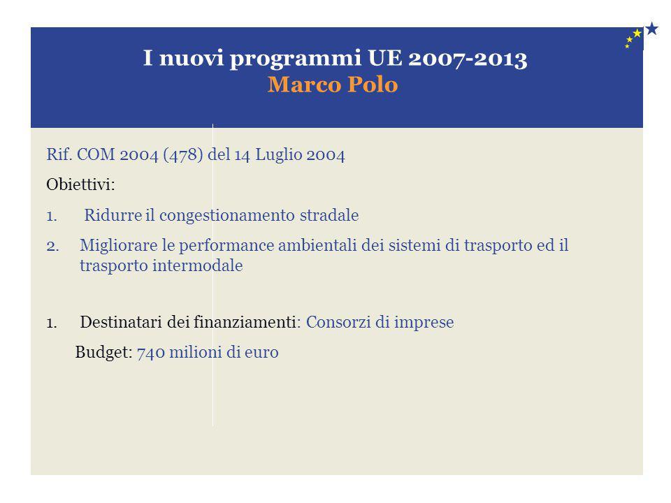 I nuovi programmi UE 2007-2013 Marco Polo
