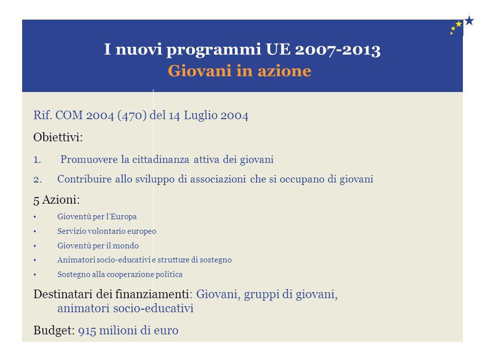 I nuovi programmi UE 2007-2013 Giovani in azione