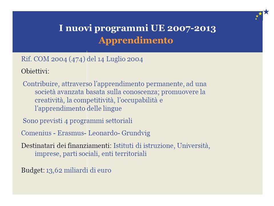 I nuovi programmi UE 2007-2013 Apprendimento