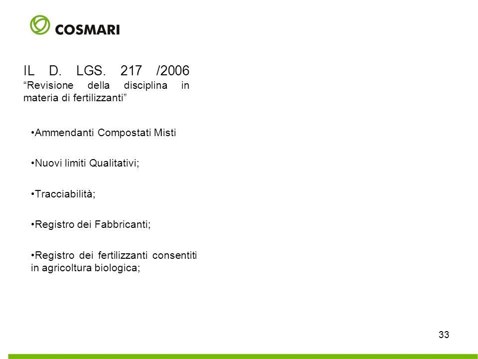 IL D. LGS. 217 /2006 Revisione della disciplina in materia di fertilizzanti